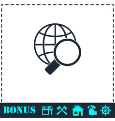 Magnify globe icon flat vector