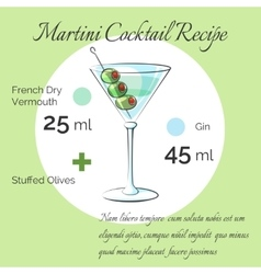 Martini cocktail receipt poster vector image vector image