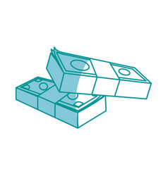 Money concept stacked pile of hundred us dollar vector