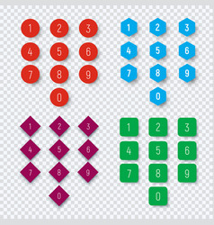 numbers from 0 to 9 on a round square hexagonal vector image