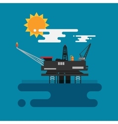 Offshore oil platform in the blue ocean Flat vector image