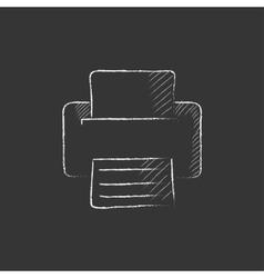 Printer drawn in chalk icon vector