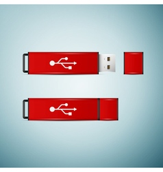 Red usb flash drive icon isolated on blue vector