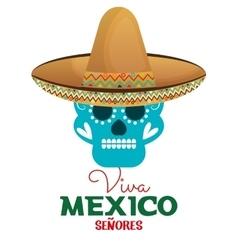 skull hat viva mexico design vector image