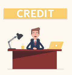 smiling banking clerk showing bank credit loan vector image vector image