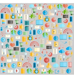 Social network with media icons background vector image