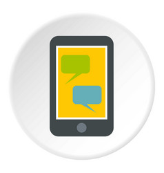 speech bubble on phone icon circle vector image