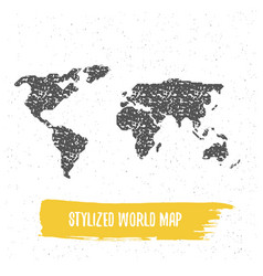 stylized world map vector image vector image