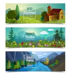 Summer landscape horizontal banners set vector image