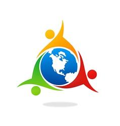 Teamwork group world people unity logo vector