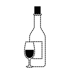 wine bottle with cup vector image