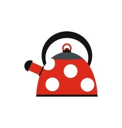 Red polka dot tea pot icon flat style vector