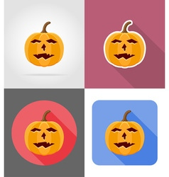 pumpkins for halloween flat icons 13 vector image