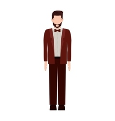 Silhouette man with formal suit and bowtie vector