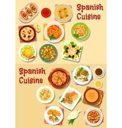 Spanish cuisine seafood dishes icon set design vector