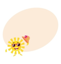 Summer sun character in sunglasses holding straw vector