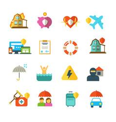 Long life insurance flat icons family vector