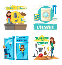 House or room cleaning cooking and laundry vector