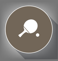 Ping pong paddle with ball  white icon on vector