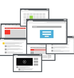 Different browser windows communication scheme vector