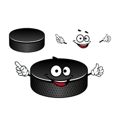 Black rubber ice hockey puck cartoon character vector image