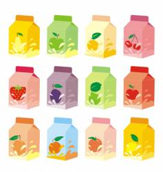 Fruit yogurt carton boxes vector