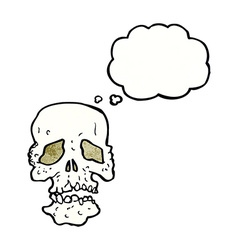 Cartoon skull with thought bubble vector
