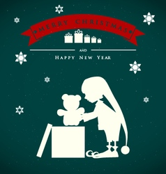 Vintage christmas card with cute elf and gift bear vector image
