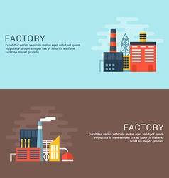 Industrial factory buildings flat style for web vector