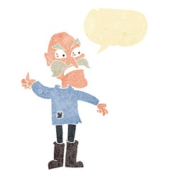Cartoon angry old man in patched clothing with vector