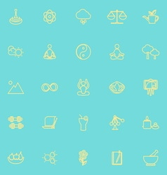 Zen concept line icons yellow color vector