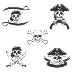Pirate symbols set vector