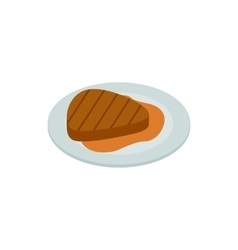 Grilled meat steak icon isometric 3d style vector