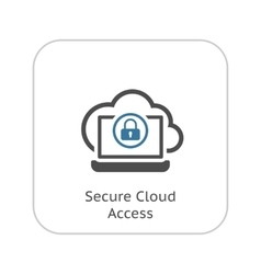 Secure cloud access icon flat design vector