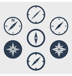 Compass and windrose flat icons set vector