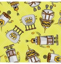 Cartoon robots seamless vector