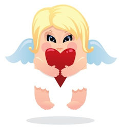angel and heart vector image vector image