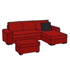Big dark red sofa vector