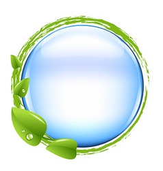 Blue Ball And Green Leafs vector image