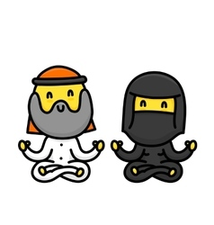 Cartoon muslim couple doing yoga together isolated vector