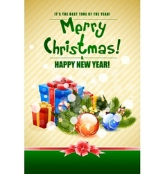 Christmas Card with Fir Twigs and Decorations vector image vector image