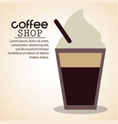 Coffee shop ice cold straw vector
