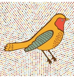 Colorful bird on dotted background vector image vector image