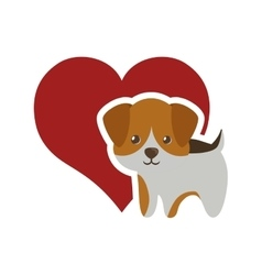 Dog canine young standing red heart vector