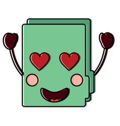 File folder heart eyes kawaii icon image vector