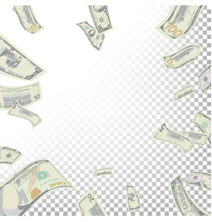 frame from flying dollar banknotes vector image vector image