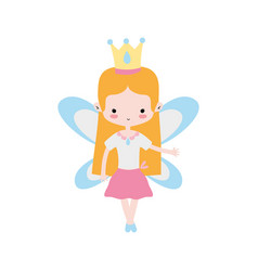 Girl dancing ballet with straight hair and wings vector