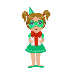 Girl in green mask holding present part of kids vector
