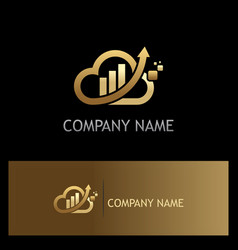Gold cloud arrow business company logo vector