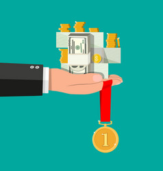 hand holding pile of cash money and medal vector image vector image
